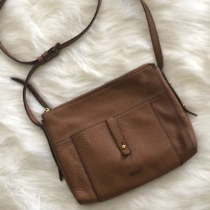 Fossil pebble leather Crossbody bag brown